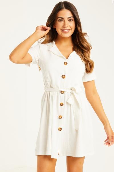 Petite White Linen Skater Dress